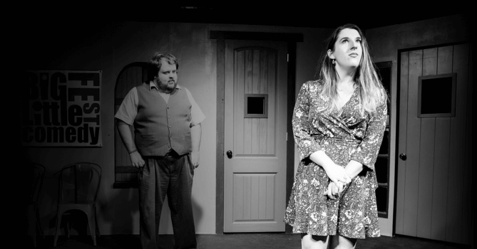 heidi rogers standing in the hot spot at bexar stage while kenny madison looks on